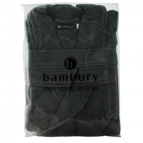 Terry Charcoal Towelling Bath Robe by Bambury