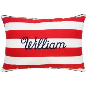 Brighton Red Name Cushion by Lullaby Linen