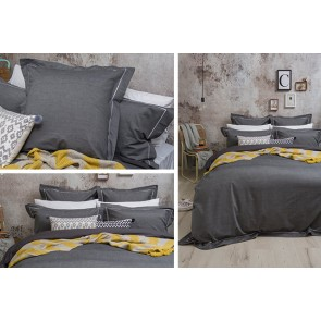 Charleston Charcoal Quilt Cover Set by Bambury