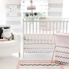 Chevron in Pink & Grey Cot Bedding Set by Petit