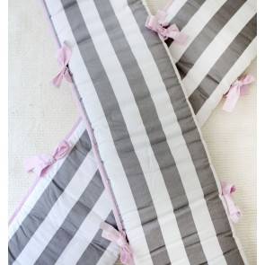 Chevron in Pink & Grey Crib Bumper by Petit