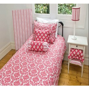 Damask Red King Single Quilt Cover Set by Lullaby Linen