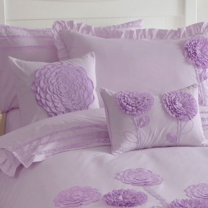Floret Lilac Queen Quilt Cover Set by Whimsy