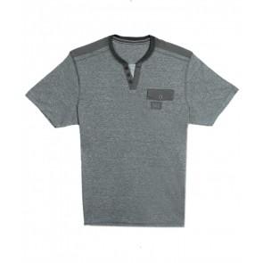 Next Deep Neck Buttoned Placket Green-Grey-T-Shirt