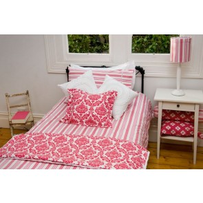 Rasberry Stripe King Single Quilt Cover Set by Lullaby Linen