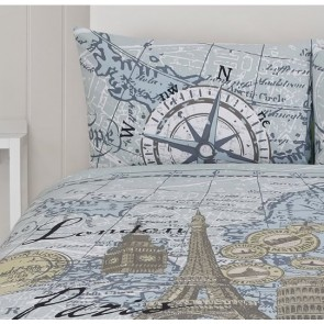 Euro Map Quilt Cover Set by Retro
