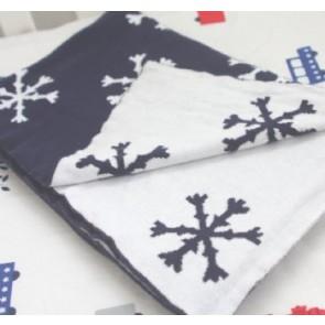 Snowflake Navy 100% Cotton Pram/Bassinet Blanket by Jacob & Bonomi