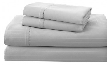 Charcoal 1200TC Cambridge Stripe Sheet & Quilt Cover Set by Royal Living