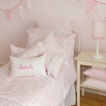 Pink Toile Single Quilt Cover Set by Lullaby Linen