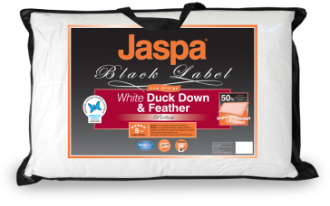 White Duck Down & Feather Pillow by Jaspa Black