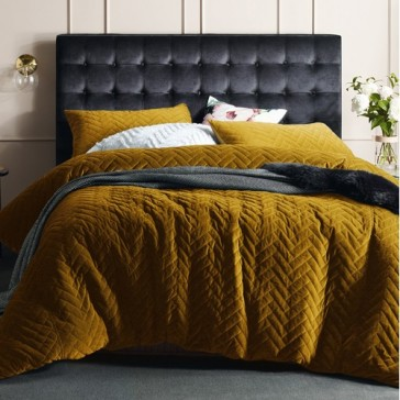Chevron King Gold Harmony   Quilted Cotton Velvet Quilt Cover Set