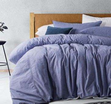 Purple Denim Acid Washed Linen Cotton Quilt Cover Set by Vintage Design
