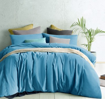 Moonstone Blue Cotton Velvet Quilt Cover Set