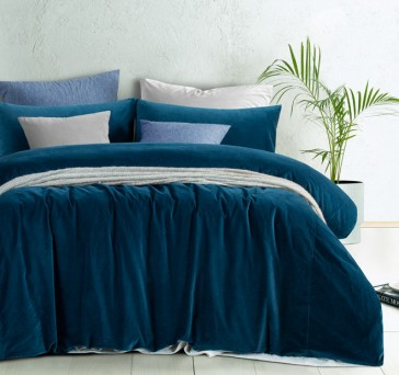 Riverland Blue Cotton Velvet Quilt Cover Set