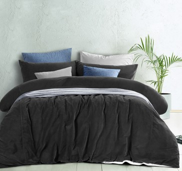 Slate Cotton Velvet Quilt Cover Set