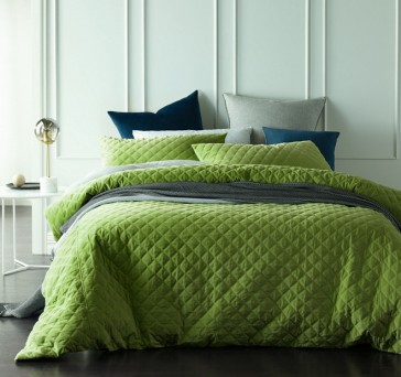 Diamond Mossy Road Quilted Cotton Velvet Quilt Cover Sets