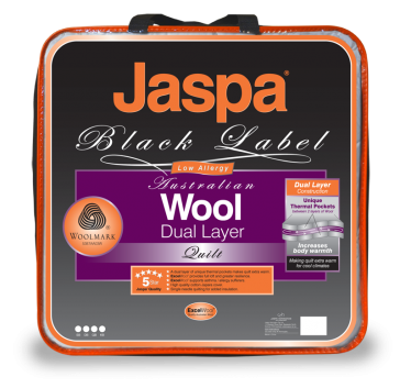 Wool Dual Layer King Quilt by Jaspa Black