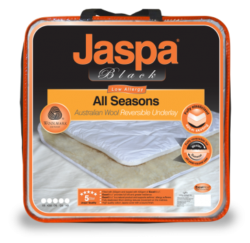 Wool All Seasons Reversible Queen Underlay by Jaspa Black