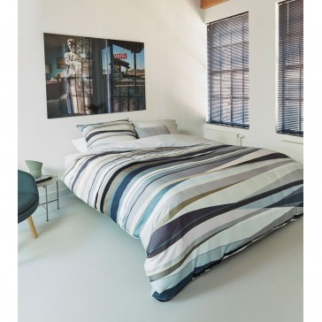 Rayons Blue Grey Cotton Sateen Quilt Cover Set by Bedding House