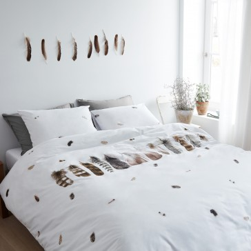 Wild Feathers White Marjolein Bastin Quilt Cover Set by Bedding House
