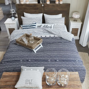 Sylt Stripe Blue Riviera Maison Quilt Cover Set by Bedding House