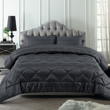 Slate Waffle Stripe 3 Piece Comforter Set by Accessorize
