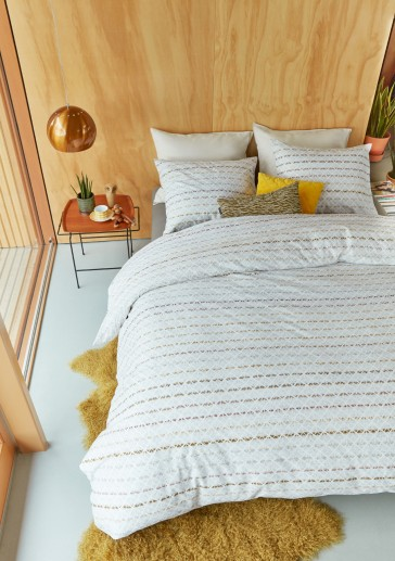 Woven Lines Yellow Quilt Cover Set by Bedding House