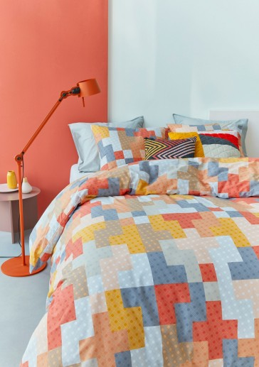 Maipu Coral Cotton Percale Quilt Cover Set by Bedding House