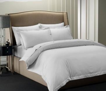 Silver 1000TC Cotton Rich Cambridge Stripe Sheet Set & Quilt Cover Set by Royal Living