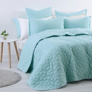 Duck Egg Blue Linen Cotton Queen Coverlet by Accessorize