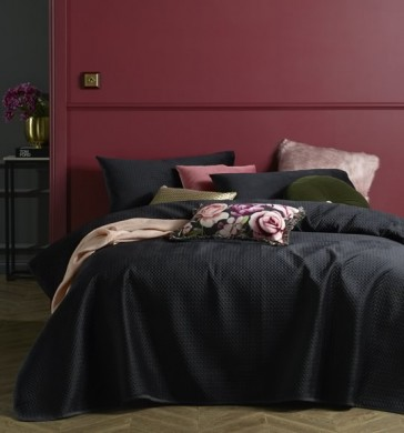 Coco Black Velvet 3 Piece King Coverlet Set by Accessorize