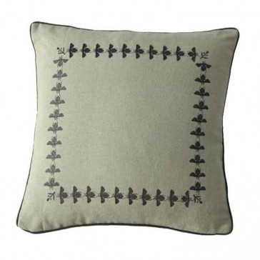 Bee Charcoal Square Cushion by MM Linen