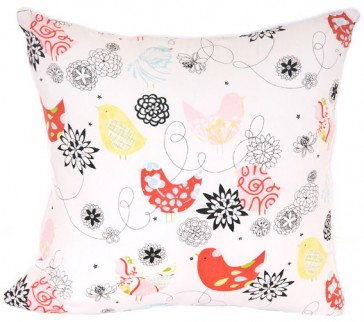 Spring Time Bird Square Cushion by Lullaby Linen