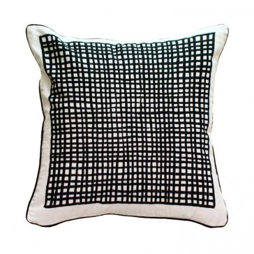 Black Grid Cushion by MM Linen
