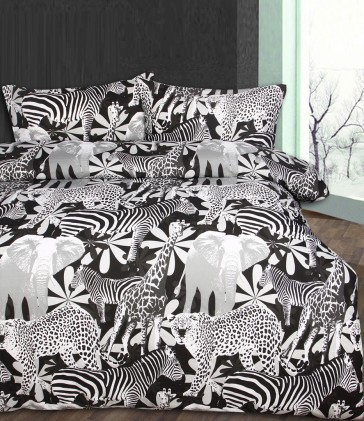 Black Retro Jungle Quilt Cover Set by Bright Young Things