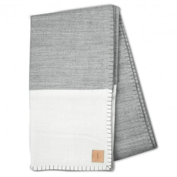 Modern Border Grey White Blanket by Scout