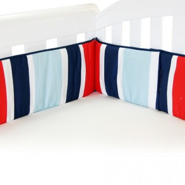 Breezy Blue Red Blue Cot Bumper by Babyhood