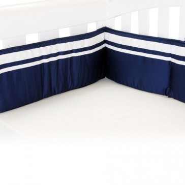 Breezy Blue Navy White Cot Bumper by Babyhood