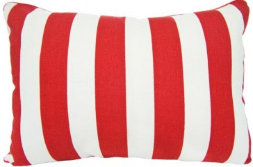 Brighton Red Stripe Breakfast Cushion by Lullaby Linen