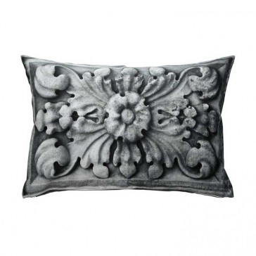 Carved Stone Grey Cushion by MM Linen