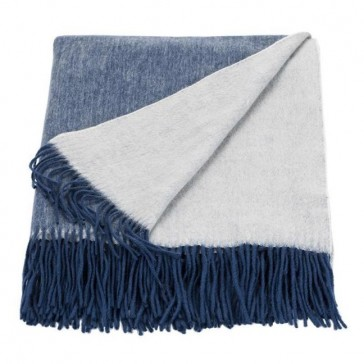 Cashmere Mix Throw Ink/Eggshell Throw Rug by Linen & Moore cs