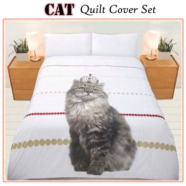 Cat Quilt Cover Set by Bright Young Things