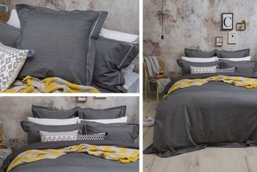Charleston Charcoal Queen Quilt Cover Set by Bambury