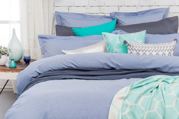 Charleston Blue Double Quilt Cover Set by Bambury