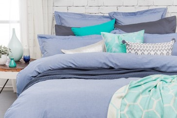 Charleston Blue Quilt Cover Set by Bambury