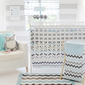 Chevron in Blue & Grey Cot Bedding Set by Petit