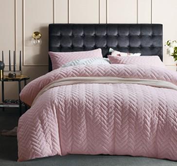 Chevron Queen Blush Cotton Velvet Quilt Cover Set