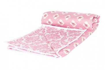 Damask Pink Baby Cot Comforter by Lullaby Linen