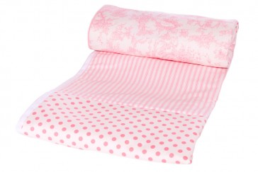 Pink Toile Baby Cot Comforter by Lullaby Linen