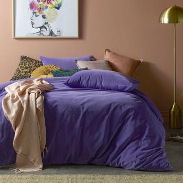 Ultra Violet Cotton Velvet Quilt Cover Set by Vintage Designs